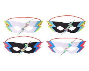 Superhero masks. Set of 8.  Superhero paper masks.  Lightning bolt party mask.  Superhero hats.  Superhero party decor. Comic book masks.