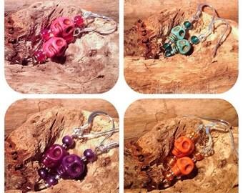 Black Skull Earrings, Howlite Skull Earrings, Goth Jewellery, Skull, Goth, Emo, Day Of The Dead, Día de Muertos, Sugar Skull, Alternative