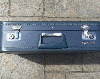 Vintage Suitcase--Monarch Suitcase--Vintage Blue Suitcase--Old Luggage--21'' Suitcase