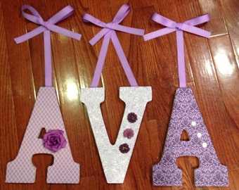 Letters for nursery, Purple nursery letters, Custom wooden letters,