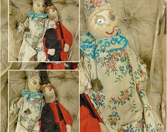 Two magical rag dolls, antique, Pierrot / Jester, found in France....CHARMANT!