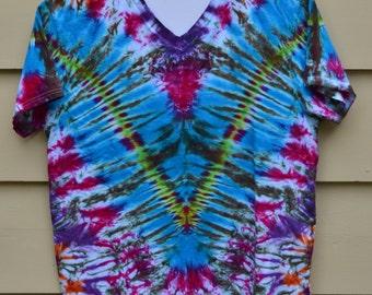 Fan Fold V Tie Dye - Blue Magenta Purple - Men's L