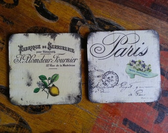french coasters hand painted and decoupaged