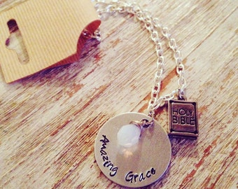 Amazing Grace hand stamped bracelet / Birth stone charm / Bible / Church Gift / Cross charm / Grace bracelet / religious