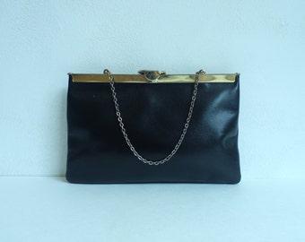 Vintage 70s Black Leather Saks Fifth Avenue Clutch, Leather Wristlet, Evening Purse, Black Purse, Black Leather, Clutch, Leather Purse