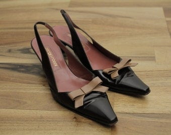Sergio ROSSI Vintage Slingbacks with bow Brown Woman Shoes Pumps Eu36 1/2 UK 3 1/2  US6 1/2
