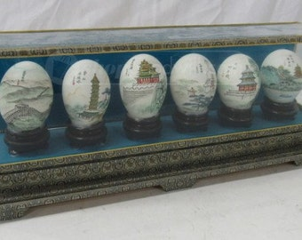 6 Handpainted Chinese Eggs in Display Case