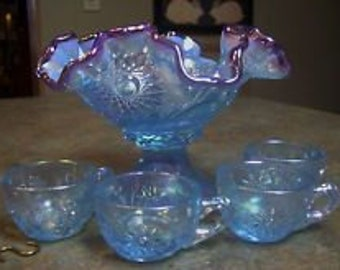 Fenton Miniature Punch Bowl & Cups