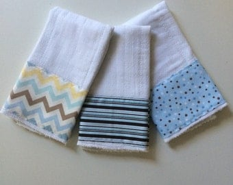 Blues & browns baby burp cloths, polka dots, stripes and chevron prints
