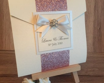 Glitter Wrap Pocketfold Wedding Invitation Holly style stationery