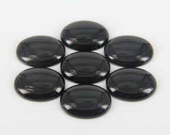 RAW black Onyx Domed Cabochon,Agate Oval Cabochon Flat Back Stones,large,30x40mm,more sizes for choice