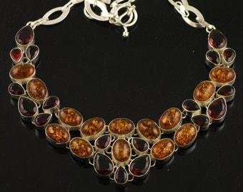 Unique Amber & Garnet Handmade Premium 925 Silver Necklace 77 Grams