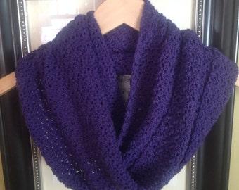 Purple Infinity Scarf, Purple Scarf, EVERYDAY CASUAL SCARF, Crochet Infinity Scarf, Ready to Ship, women's Vikings scarf