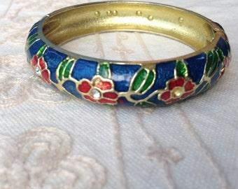 Blue Cloisonne bracelet, cloisonne bracelets, blue red cloisonne bracelet, vintage cloisonne bracelets clamper bracelet, cloisonne jewelry