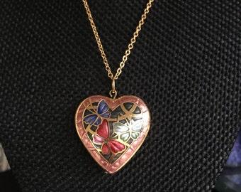 Cloisonne pendant necklace, cloisonne pendants, cloisonne heart pendant, heart pendant, cloisonné pendants, vintage cloisonné jewelry,  N178