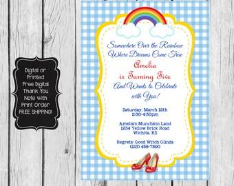 Wizard of Oz Birthday Invitation, Wizard of Oz Invitation, Wizard of Oz Party, Wizard of Oz Birthday Party,Wizard of Oz Invite,Wizard of Oz