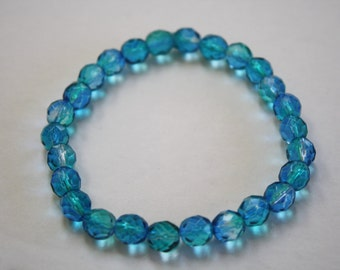 Blue and Aqua Aurora Borealis Crystal Beaded Bracelet, Blue and Aqua Bracelet, Aurora Borealis, Crystal Bracelet, Blue Bracelet