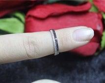 14/18K Rose/White/Yellow/Black Gold Pave Diamonds/Black Diamonds Wedding Band Set/Engagement Ring/Wedding Band/Match Band Set/Half Eternity