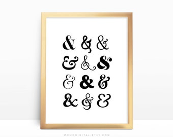 SALE -  Ampersand Pattern, Ampersands Font, Different Fonts, Ampersand Collage Set, Modern Typography, Black White Wall Art Poster
