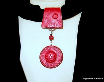 Scarf Jewelry - Red scarf jewelry  -Scarf Pendant - Stole Wrap pendant - Scarf ring - Scarf Bail -Red Scarf Ring- Red scarf necklace  CSJ001