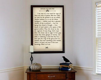 EDGAR ALLAN POE - Book Page Wall Art - Eleonora- Book Lovers Large Wall Poster- Great For Halloween Decor