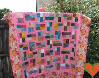 Kaffe Fassett and Batik Modern Queen Sized Quilt. Handmade One of A Kind Quilt.