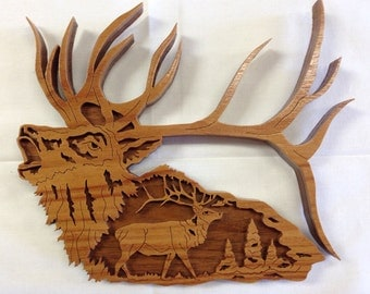 Nature's Majesty Elk Plaque - Canarywood & Walnut