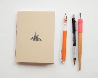 Origami crane Small blank kraft notebook