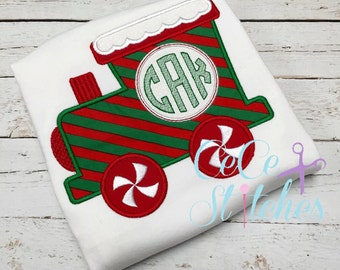 Gingerbread Train, Christmas Shirt, Embroidered Toddler T-shirt, Embroidered T-shirt