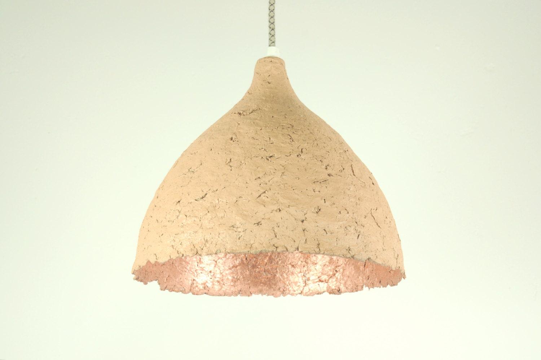 Paper Mache Pendant Lamp Drop Terra Copper By RoughHandsTheHague