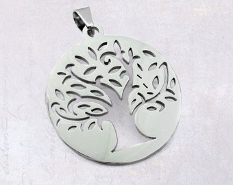1 x Stainless Steel Round Tree Of Life Pendant 35mm - Hollow Cut Out, Silver Tone