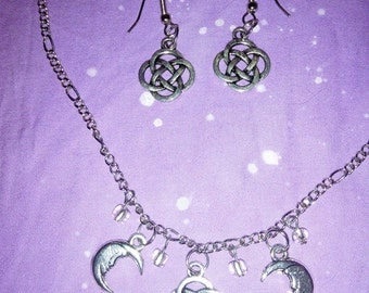 Celtic Moon Necklace and Earring Set
