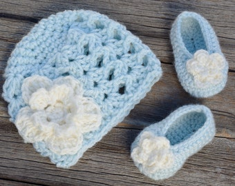 Ready to Ship!  Newborn Crochet Beanie and Slipper Set, Crochet Hat and Shoes, Baby Girl Hat and Booties