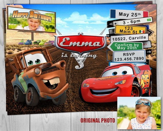 Cars Invitation, Disney Cars Birthday Invitate, Lightning McQueen and Mater Birthday Party Printable Invites - Customizable Photo