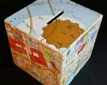 LONDON Map PIGGY Bank Money Box with Colourful London Street Map Decoupage Design *Perfect OOAK Birthday Gifts