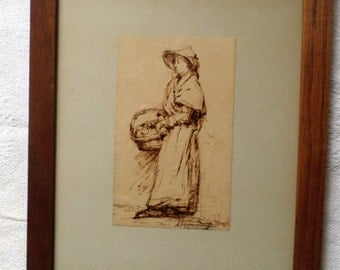 Ink drawing of a woman with basket