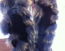 Vintage Rabbit Fur Scarf - Angora Rabbit Fur - Dyed Grey / Yellow / and Black Fur Collar -  Wedding Attire - Unique Gift for Her