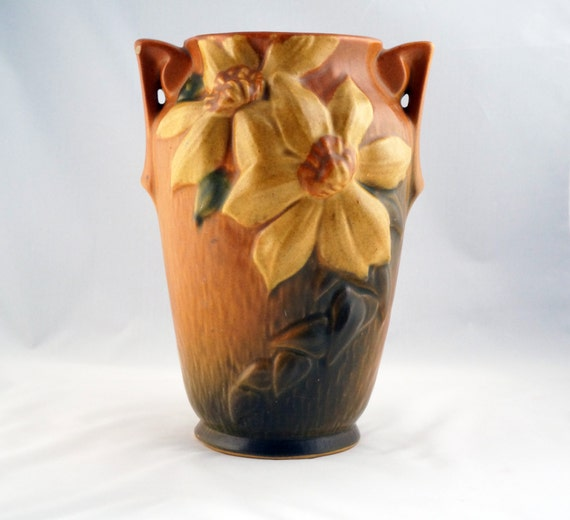Roseville Pottery Brown Tall Clematis Vase