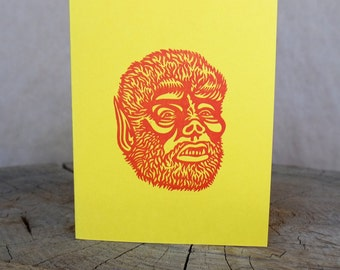 Wolfman Letterpress Greeting Card - Yellow