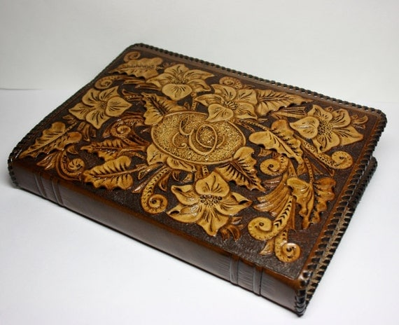 handtooled leather book cover handcrafted book by