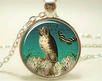 FREE SHIPPING! Owl Pendant Necklace, owl necklace, owl jewelry, nature jewelry, nature necklace, butterfly jewelry, butterfly necklace, owl