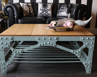 Industrial Coffee Table - Deluxe industrial steampunk style riveted bridge coffee table - The Harbour Bridge Coffee Table