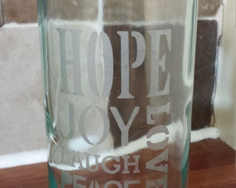 Wine Bottle Vase 'Hope Joy Laugh Peace Love'