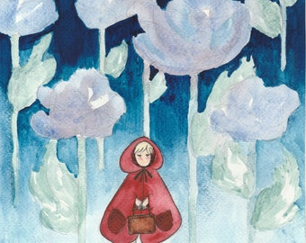 Red riding hood, original watercolor painting watercolor painting, original, little Red Riding Hood fairy tale, fairytale, watercolour, watercolour, floral