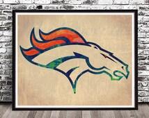 Vintage Denver Broncos Logo watercolor painting city print art watercolor skyline cityscape NFL Peyton Manning Omar Bolden