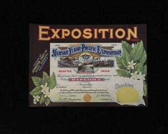 Five Vintage Original Crate Labels, Alaska Yukon  Pacific Exposition Seattle 1909