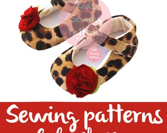 Baby sewing pattern PDF/ Leopard Baby shoe pattern /  newborn shoes with Flower / girls mary jane shoes / little girl shoes / Size 0m-12m