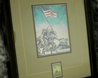 WW II 7th War Loan, Now All Together Framed Matted Photo Print w/USMC Stamp