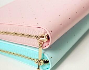 Personal Planner Zipper Binder Cute Gold Polka Dot Leather Notebook, Day Daily Weekly Monthly Bullet Journal Kikki K Erin Condren AFAEAP