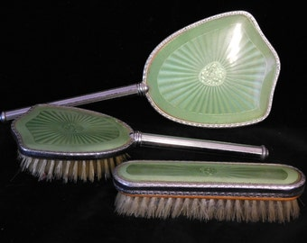 Green enamel dresser set from the 40's